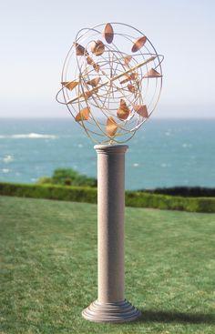Metal Workings For Sale | StrataSphere Wind Sculpture on pedestal | ArtsyHome