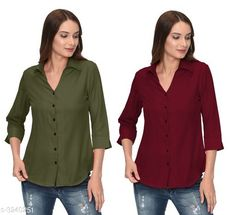 Shirts Glamorous Contemporary Women's Polyester Solid Women's Shirts(Pack Of 2) Fabric: Polyester   Sleeves: 3/4 Sleeves Are Included Size: S - 36 in M - 38 in L - 40 in XL - 42 in Length: Up To 28 in Type: Stitched Description: It Has 2 Pieces Of Women's Shirts Pattern: Solid Country of Origin: India Sizes Available: S, M, L, XL   Catalog Rating: ★4 (287)  Catalog Name: Glamorous Contemporary Women's Polyester Solid Women's Shirts Combo CatalogID_446772 C79-SC1022 Code: 405-3240251-1131