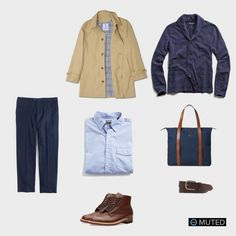 ** MENS OUTFIT IDEAS #59 ** American Trench Outfit #5. This outfit features great pieces from Todd Snyder like his Knit Shawl Cardigan and his light blue oxford. Matched with J. ...