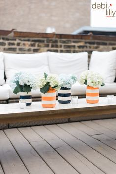 Summer is here and it's time to celebrate! Create indoor or outdoor decor by adding your favorite flower to these Debi Lilly™ mason jars for a colorful yet subtle center piece!