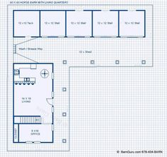 """Large Selection of Horse Barn Plans With Living Quarters The Horse lover said; """"It's A Life Style""""; So Build Me A Horse Barn Around my Living Quarters. Horse Barn Apartments are Smart. Care Taker Quarters inside your Horse Barn Horse Shed, Horse Barn Plans, Horse Barns, Horse Stalls, Farm Plans, Barn House Plans, Barn With Living Quarters, Barn Layout, Barn Builders"""