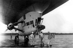 A circa 1950s photo of the crew boarding a K-type airship at Glynco GA.