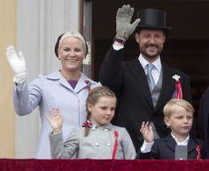(R-L) Crown Prince Haakon, Crown Princess Mette-Marit of Norway, Prince Sverre Magnus, Princess Ingrid Alexandra watch the 2013 annual Norwegian National Day parade