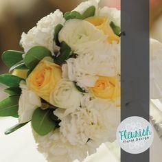 Bridal Bouquet by Fleurish Floral Design | Green Pitt, Creme de la Creme Roses, White Carnations, and White Ranunculus