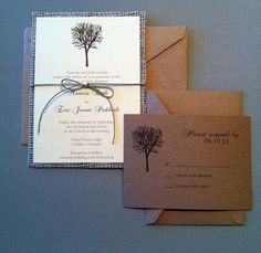 rustic tree wedding invites