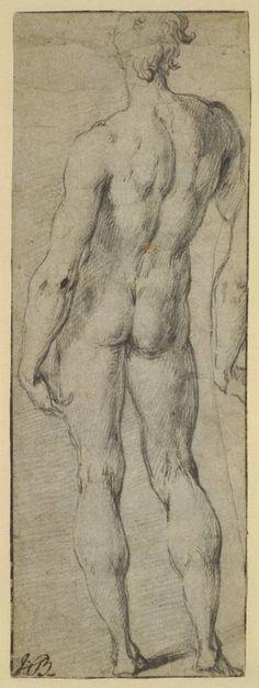 Parmigianino (Girolamo Francesco Maria Mazzola), 1503-1540, Italian, Preparatory model of Michelangelo's David, from the back, c.1523-24.  Drawing.  British Museum, London.  Mannerism.