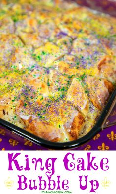 King Cake Bubble Up – We loved this! Cinnamon rolls, eggs, milk, vanilla and cream cheese. Ready in 30 minutes. Better than any store-bought King Cake we've had! Can serve warm or room temperature. We ate way too much of this! Perfect for your Mardi Gras Mardi Gras Food, Mardi Gras Party, Mardi Gras Desserts, Mardi Gras Drinks, Just Desserts, Delicious Desserts, Yummy Food, Cajun Desserts, Breakfast Recipes
