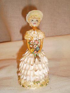 Antique Folk Art Shell Work Doll Hand Made Charming   eBay