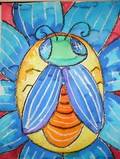 oil pastel  bugs on a flowers