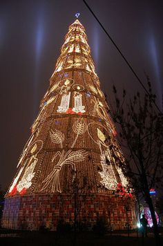 Romania, Europe - Christmas Tree in Bucharest, Romania Christmas In Europe, Christmas Vacation, Christmas Photos, Christmas Lights, Christmas Time, Merry Christmas, Christmas Decorations, Holiday Decor, Christmas Medley