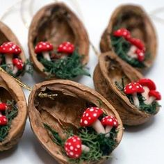 Mushroom Christmas Decorations - Walnut Shell Ornament - Handmade Ornament - Holiday Decor Perfect Gift For All Fun Mushrooms! You will receive a set of 6 mushroom ornaments. The approximate size of each ornament is The walnuts have different si Shell Ornaments, Handmade Ornaments, Diy Christmas Ornaments, Handmade Decorations, Homemade Christmas, Holiday Crafts, Christmas Holidays, Christmas Decorations, Modern Christmas
