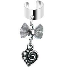 Handcrafted Ribbon Scroll Heart Dangle Ear Cuff #cartilage #earrings  www.loveitsomuch.com