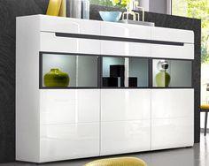 HEKTOR 48 KOMODACzysta połyskująca biel optycznie powiększy Wasz salon czy pokój dzienny połączony z jadalnią .