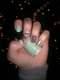 Mint, nude, brown & white stripes with gold accent nails