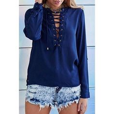 Navy lace up blouse 1 large left DO NOT PURCHASE THIS LISTING. LEAVE NAME AND SIZE.      100% polyester non-stretchable material. Long sleeve w/button to make 3/4. Hand wash.      SMALL: bust 16in length 22 sleeve length 25inMEDIUM: bust 17in length 25in sleeve length 23in LARGE: bust 19 in length 25.5in sleeve length 23.5.                                Also available in black. Price firm. Very limited quantity Tops Blouses