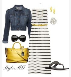 Love the striped dress! Jean jacket. Bag. Summer outfit!