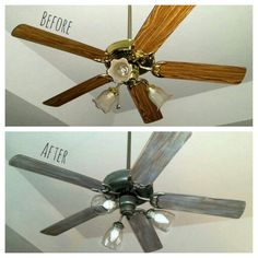 So impressed with my $25 ceiling fan makeover!! New seeded glass globes/bulbs, spray painted brass & chalk painted blades.