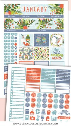 This printable monthly planner stickers kit is created for Erin Condren Life Planner