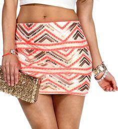 IvoryPinkGold Sequin Chevron Mini Skirt