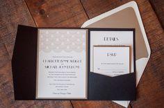 Great Gatsby Black and Gold Modern Pocketfold Formal Wedding Invitation - Deposit to Start Order by RebeccaGreenDesign on Etsy https://www.etsy.com/listing/210729147/great-gatsby-black-and-gold-modern