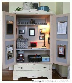 Inspiration for the bedroom armoire Small Space Office, Small Spaces, Bedroom Design Inspiration, Home Organization Hacks, Office Workspace, Creative Home, Furniture Decor, Sweet Home, New Homes