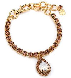 Silver Puppy Jewelry Large Brown with Pear Pendant Australian Crystals Sparkly 14 Kt Gold Plated