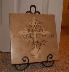 Uppercase living vinyl used on a piece of ceramic tile from Lowe's.... Such a great and easy project