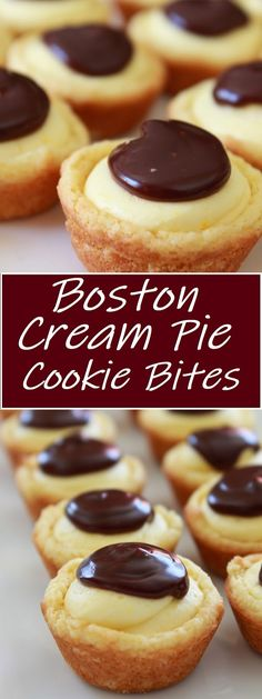 Boston Cream Pie Cookie Bites The majority of the wonderful flavors you adore from the customary Boston Cream Pie are transformed into a treat nibble. Mini Desserts, Cookie Desserts, Christmas Desserts, Easy Desserts, Delicious Desserts, Yummy Dessert Recipes, Homemade Christmas Cookie Recipes, Best Christmas Cookies, Picnic Recipes