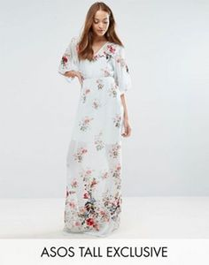 ASOS TALL SALON Maxi Dress With Embroidery & Floral Print