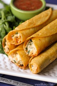 These are SOOO good! Cream Cheese and Chicken Taquitos. ... baked at 400* for 15 minutes.