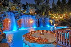 A Luxurious Pool with a Waterfall and a Cave at Old Lion Manor, California, U.S.A.