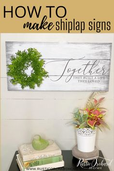 Make a shiplap sign using this simple DIY Farmhouse Home Decor Tutorial! Home Decor Signs, Diy Signs, Wood Signs, Industrial Farmhouse Decor, Farmhouse Ideas, Modern Farmhouse, Simple Diy, Easy Diy, Diy Projects To Sell