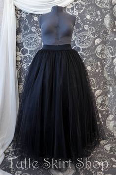 9fcb4c396adb5 Black Plus Size Tulle Skirt with Stretch Waistband - Long Adult Tutu,  Crinoline or Petticoat - Custom Made to Your Measurements