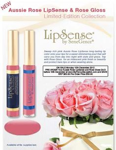 NEW Limited Edition Aussie Rose LipSense with Rose Gloss.  Kissproof, waterproof, long lasting. Pre-order and save! Only $50.00 until 10th December. Repin so more women can change the way they kiss.  Mwah!