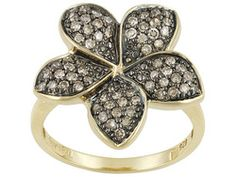 Champagne Diamond .50ctw Round 18k Yellow Gold Over Sterling Silver Flower Ring