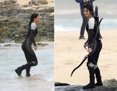 "While filming ""Catching Fire"" in Hawaii, Lawrence showed off her prowess with a bow and arrow while wearing a futuristic looking black and grey wetsuit, complete with knee-pads and Katniss Everdeen's signature brown braid."