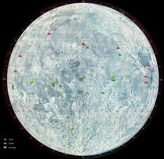 Mapped moon landing sites including Apollo, Luna, and Surveyor missions.