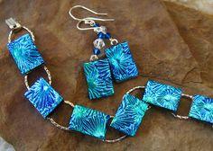 Fused Glass Link Bracelet Blue Dichroic Glass Bracelet by GlassCat, $30.00