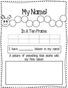 FREE My Name Worksheet  ((Double check to be sure all students' names will fit within one ten-frame -- otherwise, edit worksheet))