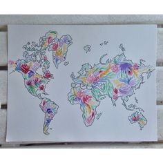 Floral World Map Watercolor by TheCreativeTypes on Etsy https://www.etsy.com/listing/237527722/floral-world-map-watercolor