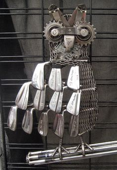 Brad Van Anderson: Owl sculpture from old golf clubs