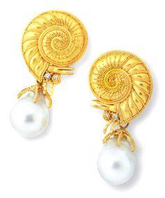Carolyn Tyler Jewelry - Fine Gold Jewelry Catalog snail pearl earrings