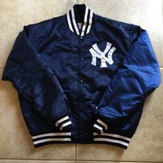 "Vintage New York Yankees Starter Satin Jacket Great Condition. Size Men's XL (Fits more like a Large). Logo is stitched. Measurements - Pit to Pit: 27"". Top to Bottom: 28"". Made by Starter. Jackets & Coats"