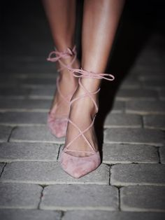 pointy toe, lace up, strappy heels - blush pink suede