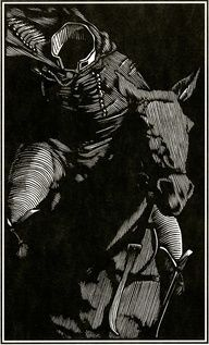 The Headless Horseman, by Barry Moser, woodcut. He's actually dressed correctly here, too.