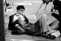 Dane DeHaan and Daniel Radcliffe filming Kill Your Darlings