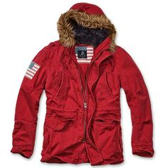 Red Parka Vintage Explorers Stars and Stripes by Brandit   Parka is great for the winter season. It has the following features: Flag on the right sleeve - Hood with fake fur (not removable) - adjustable waist