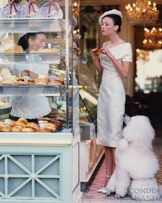 """""""At the Patisserie"""" by Arthur Elgort, Vogue Cover, March, 1999 #French #fashion #vintage"""