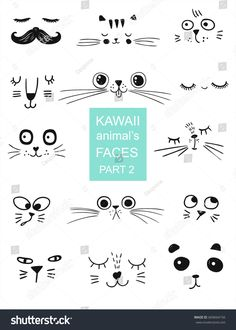 set of kawaii animal's faces for t shirt, notebooks, card, fabric, fashion Doodle Art Posters, Doodle Art Journals, Face Doodles, Doodle Art For Beginners, Funny Cat Faces, Doodle Art Designs, Kawaii Faces, Face Illustration, Letter Patterns