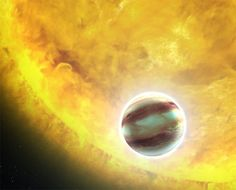 """Hot-jupiter-2 is one of four alien worlds  known as """"hot Jupiters"""" -- large gas giant planets orbiting very close to their stars. Their orbits are aligned just right with the Earth so that when they pass in front of their parent stars, they slightly dim the starlight from view."""